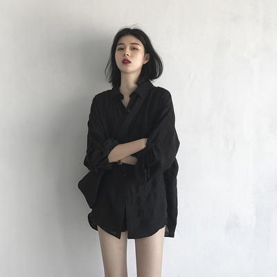 CHICVEN2020夏港风格纹长袖衬衫防晒衫女  宽松休闲气质百搭上衣