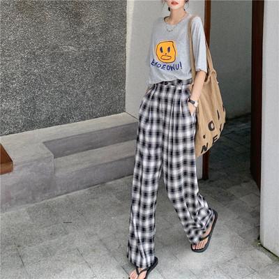 2020韩版高腰直筒黑白格子休闲裤子女格纹长款显瘦阔腿裤拖地裤
