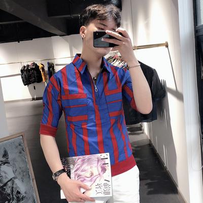 20夏季短袖男衬衫韩版青年五分袖中袖套头条纹衬衣社会小伙上衣潮