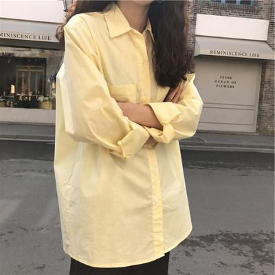 少女chic清新减龄小鸡黄衬衫女初春鹅淡黄色衬衫糖果色开衫外套潮