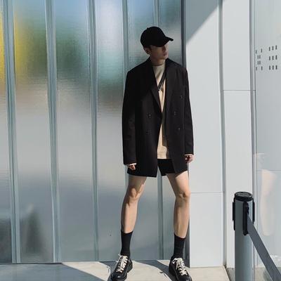 24KHOMME 高ji韩版ins时髦双排扣西装男潮流宽松休闲西服外套