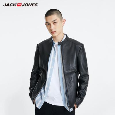 JackJones杰克琼斯男士夏立领机车服软羊皮真皮皮衣夹克休闲外套