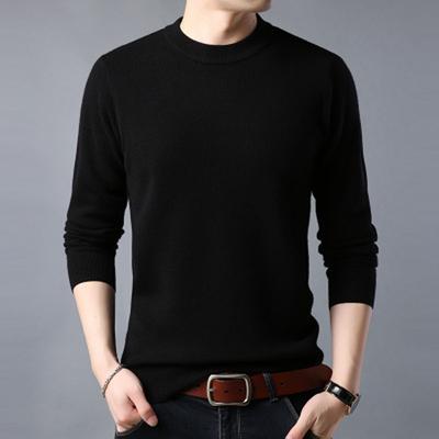 山羊绒衫男装半高领T恤 100%纯羊毛秋冬圆领中年爸爸毛衣