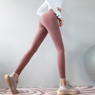 唤醒马甲线弹力蜜桃健身裤女速干运动裤高腰提臀瑜伽裤跑步紧身裤