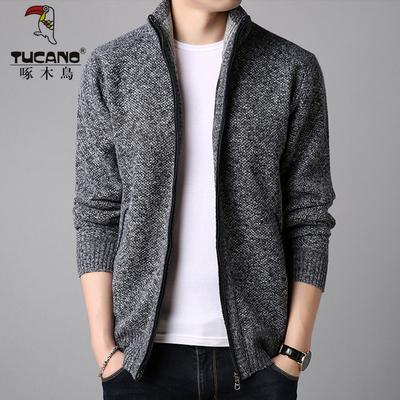 啄木鸟男士夹克男开衫 青年立领针织开衫外套 纯色毛衣秋季男装