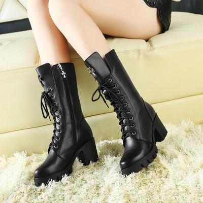 马丁靴女英伦风春秋季真皮粗跟中筒单靴冬款高跟显瘦雪地棉短靴潮