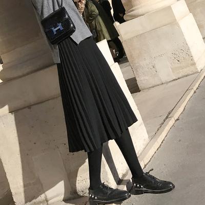 针织半身裙女秋冬2020新款休闲百褶裙高腰a字显瘦中长款毛线冬裙