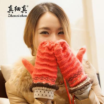 真细真毛线手套秋冬针织韩版手套