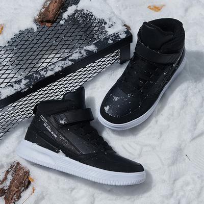 361度男鞋运动鞋冬季新款加绒保暖鞋子潮休闲鞋皮面高帮板鞋男士