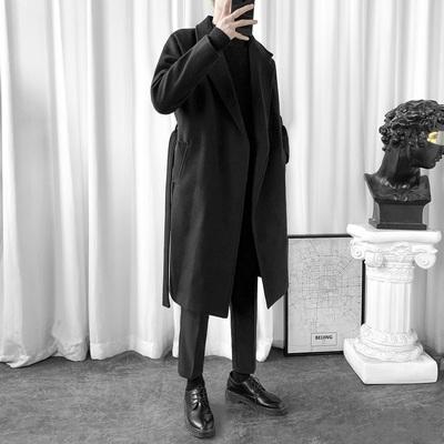 秋冬季韩版长款风衣男士过膝加厚毛呢大衣宽松情侣装呢子外套潮流