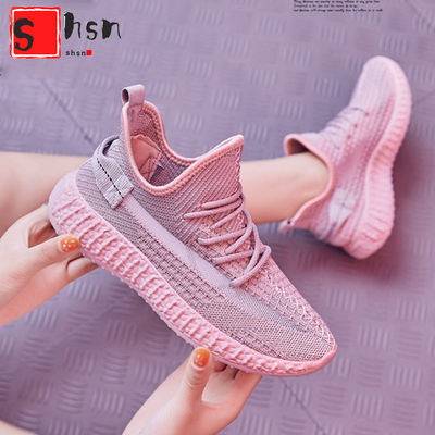 网红飞织女鞋ins超火的新款运动鞋女透气时尚休闲跑步椰子鞋女鞋