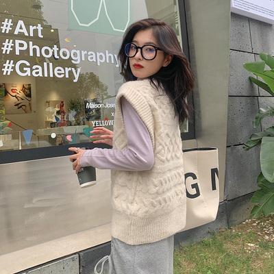 【胡楚靓 舒芙蕾】秋季设计感v领针织毛衣马甲背心针织韩版外套女