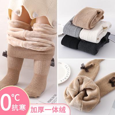 女童加绒秋冬季中大一体绒连裤袜