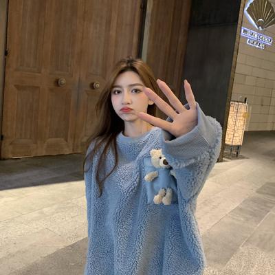 网红定制韩版宽松毛绒绒上衣女2020新款亲子套头毛衣