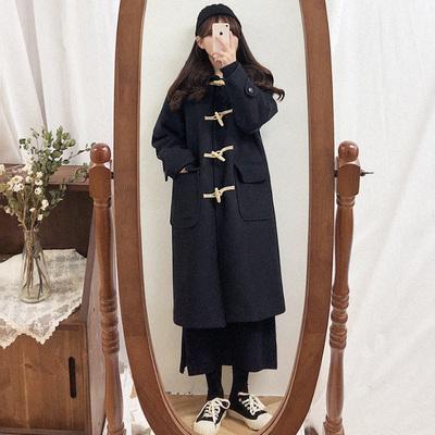 牛角扣大衣女中长款2020年秋冬新款黑色连帽呢子过膝长款毛呢外套