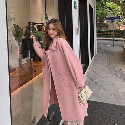 中长款毛呢大衣女装2020年秋冬新款小个子赫本风气质双面呢子外套