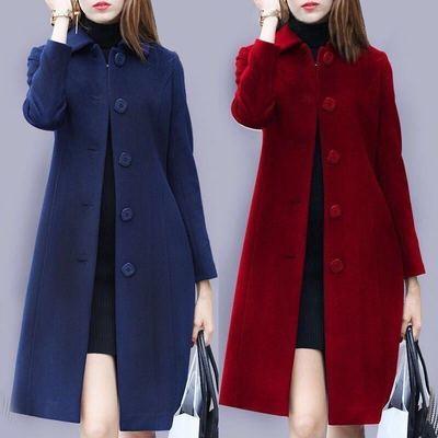 禅羽正品秋冬新款毛呢外套女士中长款遮肚宽松大码女装显瘦呢大衣