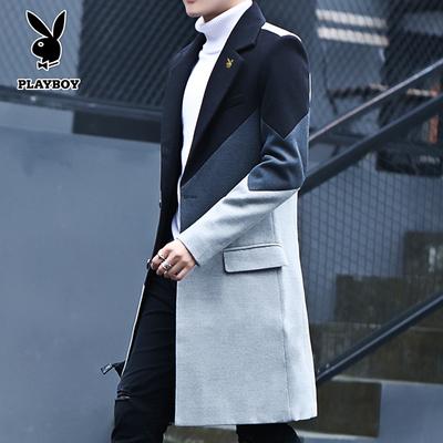 花花公子毛呢大衣男士中长款秋冬季加厚修身潮流帅气英伦风衣外套