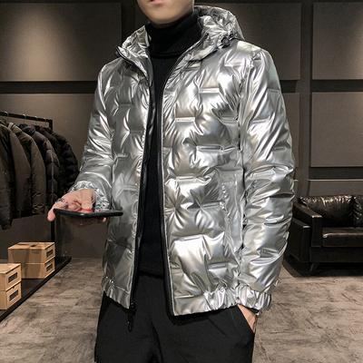 潮牌新款银色亮面羽绒服男免洗轻薄帅气冬季亮闪外套面包上衣男
