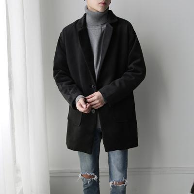 风衣男中长款2020新款韩版修身短款羊毛呢子大衣冬季加厚妮子外套