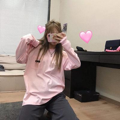 王少女的店铺 长袖T恤  2020新款粉灰白色圆领打底衫宽松百搭上衣