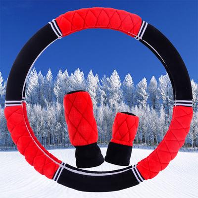 冬季毛绒三件套大众朗逸来方向盘套