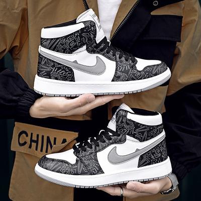 加绒男鞋板鞋2020冬季新款保暖空军一号aj1潮秋季休闲高帮运动鞋Y