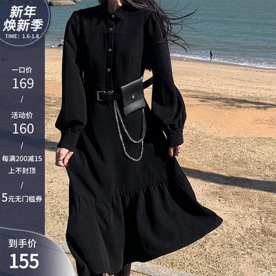 浅川酒一连衣裙女黑色中长款温柔风秋冬2020新款设计感不规则裙子