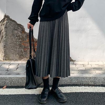 回馈秋冬新款3色松紧腰加厚百搭显瘦毛呢百褶裙A字裙女高腰显瘦裙