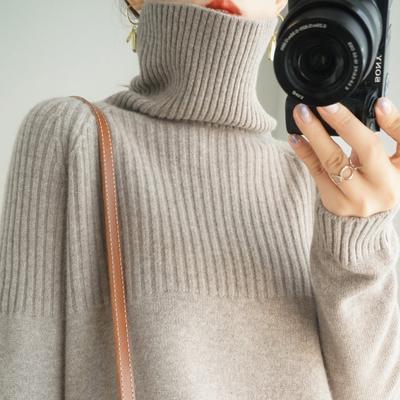 秋冬宽松慵懒风加厚高领毛衣女套头长袖纯色堆堆领针织打底衫大码