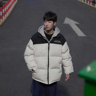 2020冬款男士棉服韩版宽松假两件拼色印花连帽外套加厚学生面包服