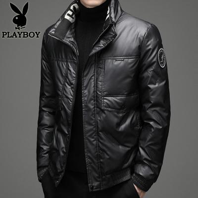 花花公子亮皮羽绒服男短款韩版潮流男士立领时尚免洗加厚冬装外套