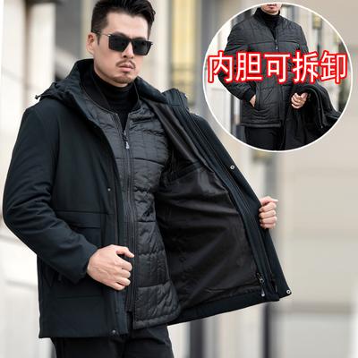 爸爸冬装棉衣中年男外套冬季加厚棉袄中长款40岁50中老年羽绒棉服