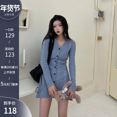 浅川酒一 裙子2020年新款秋冬中长款裙子气质收腰性感显瘦连衣裙