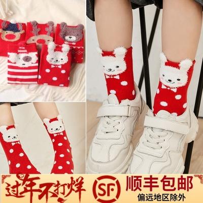 秋冬季全棉厚款女童红色儿童袜子
