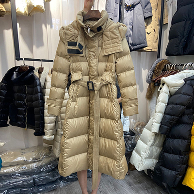 欧货高端大牌白鸭绒羽绒服女长款过膝2019冬收腰显瘦外套反季特价