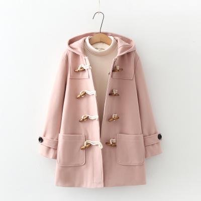 毛呢外套女中长款秋冬小个子日系粉色连帽学生森系牛角扣呢子大衣