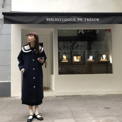 馨帮帮自制 韩版学院风娃娃领呢子大衣排扣宽松中长款毛呢外套女