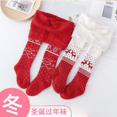 过年圣诞袜秋冬纯棉毛圈男女连裤袜