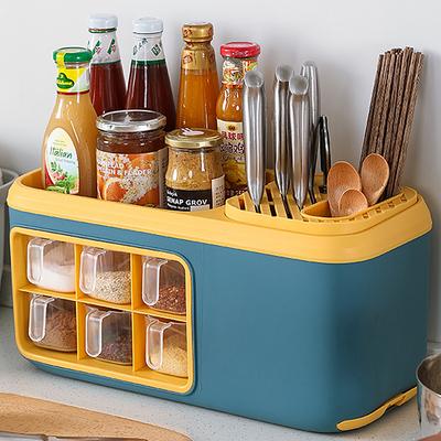 厨房用品家用大全厨房置物架收纳盒油盐酱醋调味品刀架调料架一体