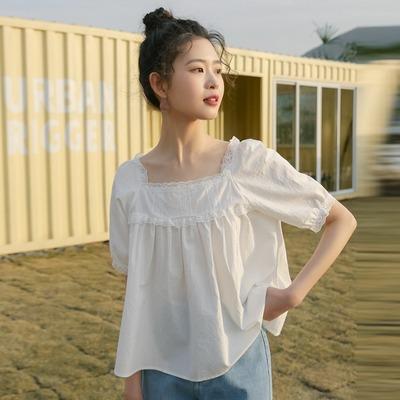 方领白色蕾丝短袖拼接新款短款衬衫