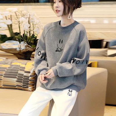 字母灰色卫衣女小个子薄款短套头上衣宽松韩版春季2021新款欧洲站
