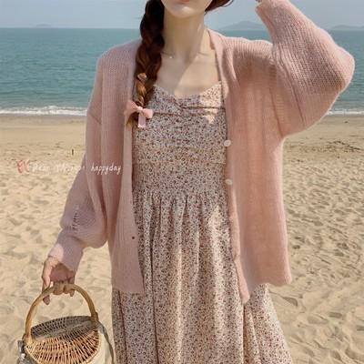 【Dear YN】温柔软糯慵懒风单排扣马海毛针织开衫薄款毛衣外套女