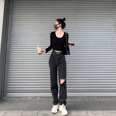 narciso破洞牛仔裤女高腰直筒宽松网红阔腿烟灰色黑显瘦显高拖地