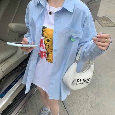 【胡楚靓青柠优格】2021年新客蓝色衬衫女夏中长款宽松长袖防晒衣