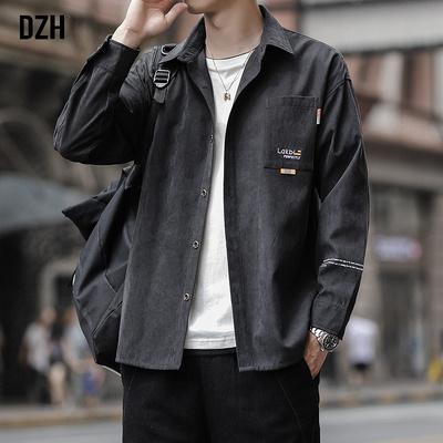 男士春季工装衬衣外套男ins潮流黑色男装休闲长袖衬衫男2021新款