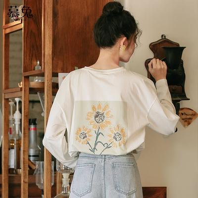 ins设计感白色长袖T恤女春2021新款韩版宽松纯棉上衣打底衫体恤潮
