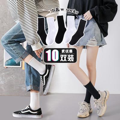 黑色中筒白色夏季纯棉长筒潮堆堆袜