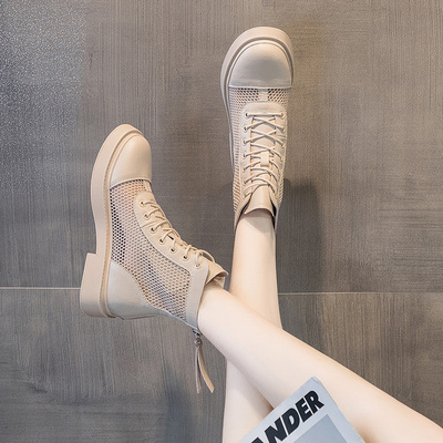 真皮凉靴2021春夏新款镂空夏马丁靴