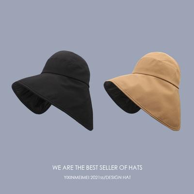 韩版不挡视线遮侧脸夏季黑胶防晒帽